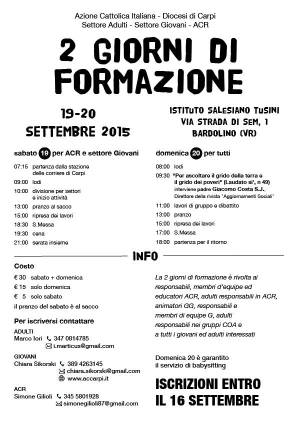 AC diocesi di Carpi - 2 giorni di formazione settembre 2015