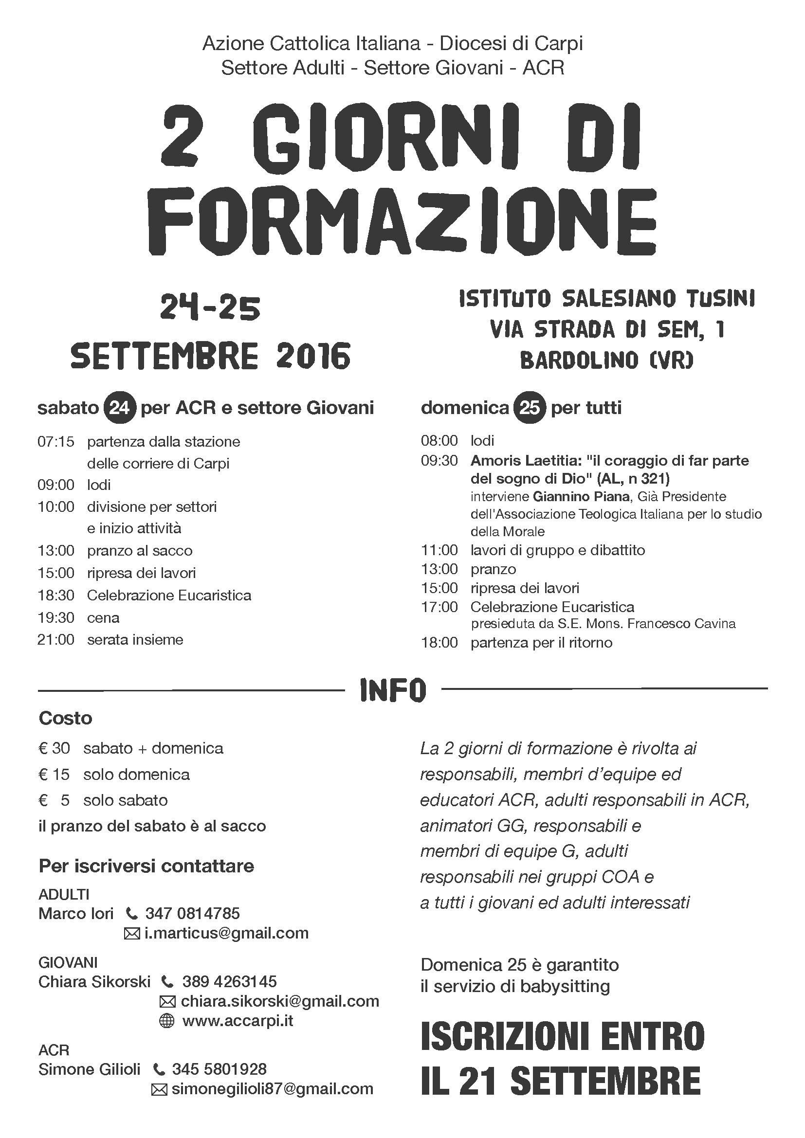 AC diocesi di Carpi - 2 giorni di formazione settembre 2016